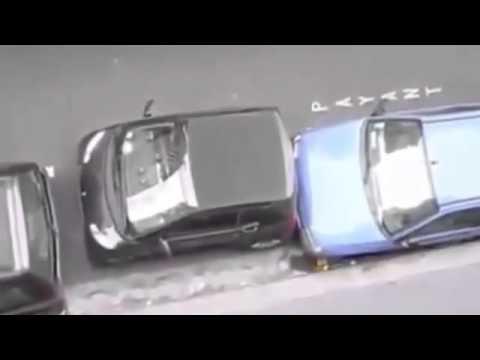 طريقة مثيرة وعنيفة لقيادة السيارة