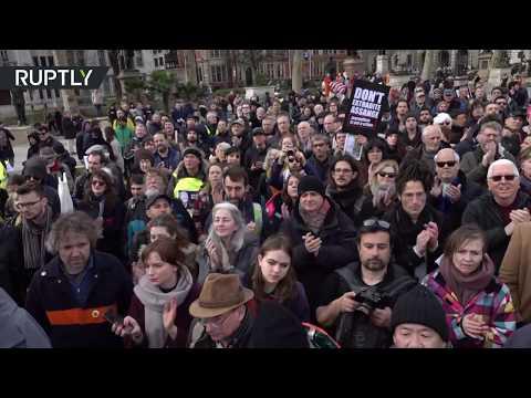شاهد تظاهرات داعمة لمؤسس موقع ويكيليكس جوليان أسانج في لندن