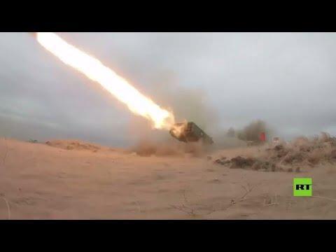 مناورات بعثة السلام 2021 تظهر أداء قاذفة اللهب سولنتسيبيوك وراجمات صواريخ غراد